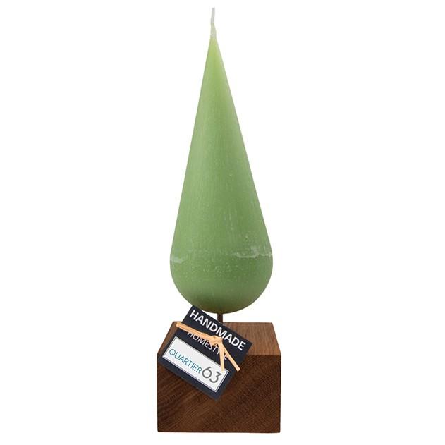 Kerze Kugelspitze hellgrün mit Holzfuß