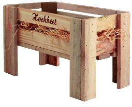Holzkiste Hochbeet aus Palettenholz, 16 x 26 x 13,5 cm, 2,4 l