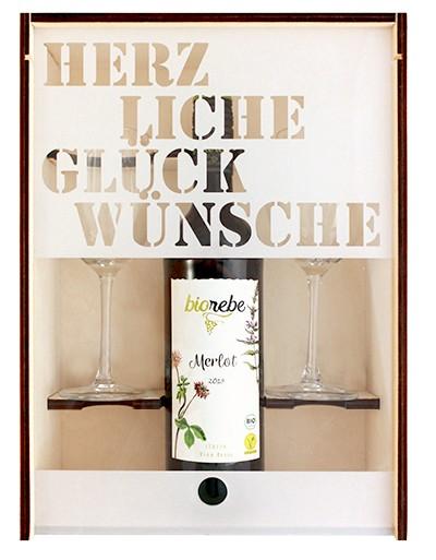 Weinkiste aus Sperrholz mit Acrylglasdeckel