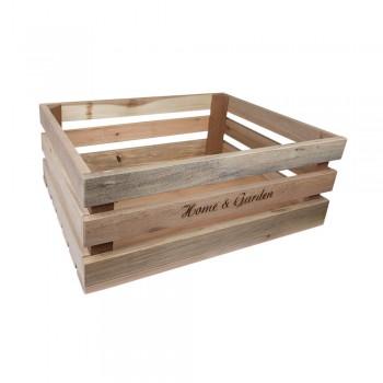 Holzkiste groß Home & Garden aus Palettenholz, 37 x 14 x 28 cm, 14,5 l
