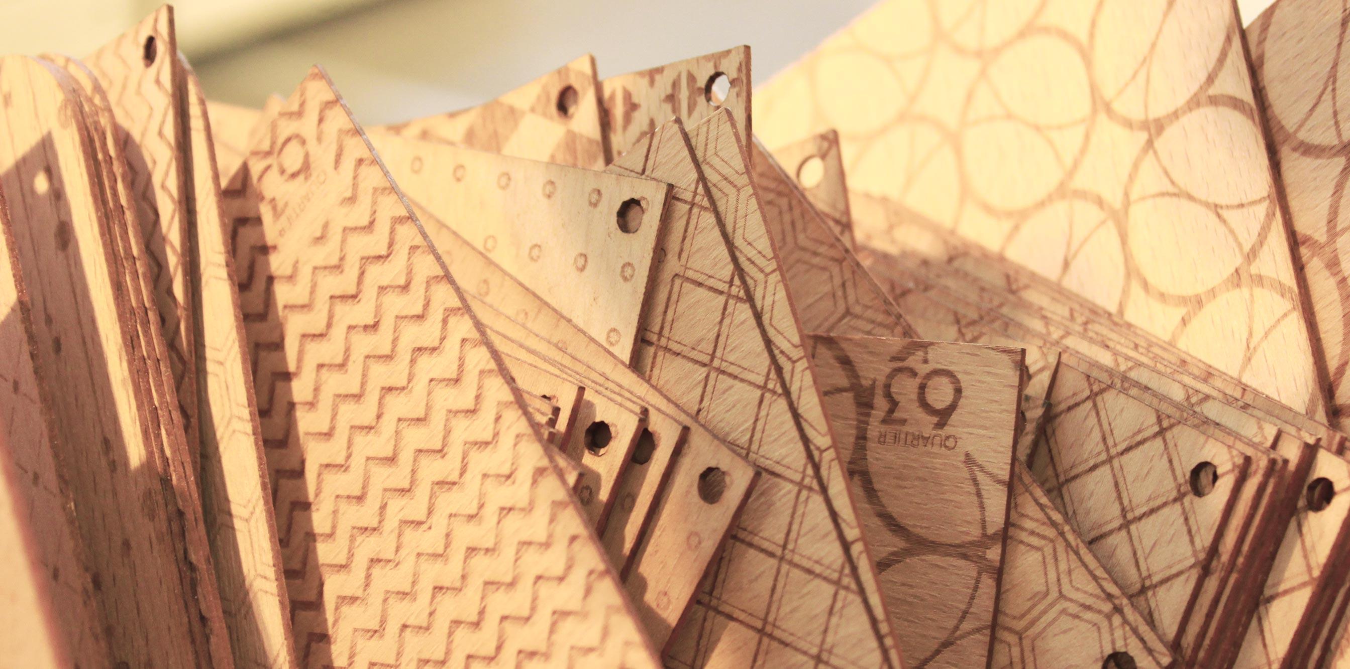 Holzpostkarten von Quartier 63