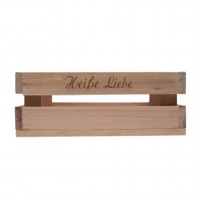Holzkiste klein Heiße Liebe aus Palettenholz, 24 x 9 x 11 cm, 2,4 l